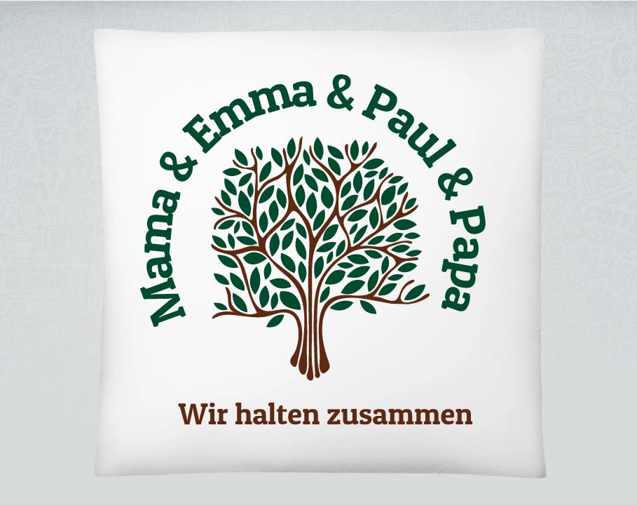 Familienkissen mit Baum-Aufdruck und Namen.
