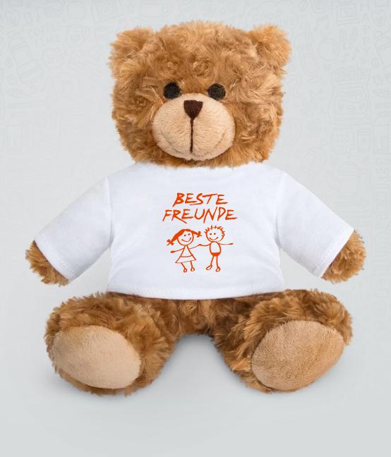 """Teddybär mit Aufdruck """"Beste Freunde""""."""